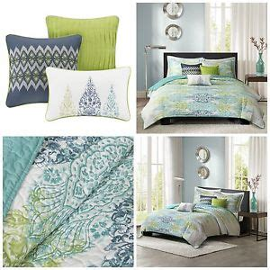 Blue King Size Quilt Set King Size Blue Green Abstract Quilted Coverlet Set Bedding