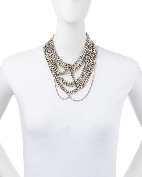 Multi Chain Choker laurent silvertone multi chain choker necklace