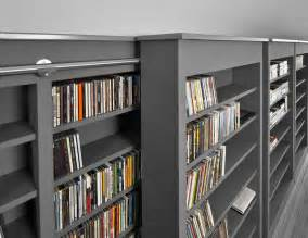 Library Bookcase Lighting Sliding Shelves Contemporary Home Theater Edmonton