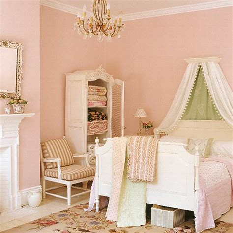 Vintage Pastel Bedroom by Pastel Bedroom With Canopied Bed And Needlework