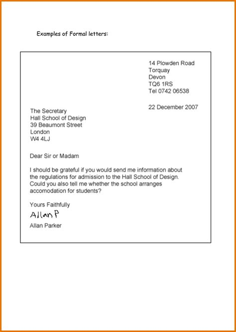 Letter Format In Formal Letter For School Formal Letter Template