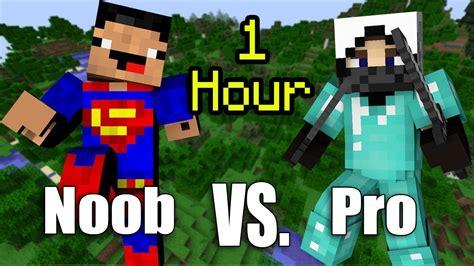 one hour of noob vs pro minecraft