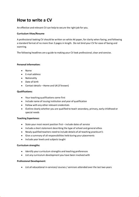 16 how to write curriculum vitae basic appication