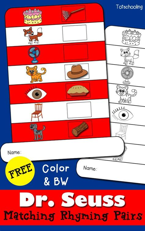 printable rhyming word games dr seuss matching rhyming hat printable book activities