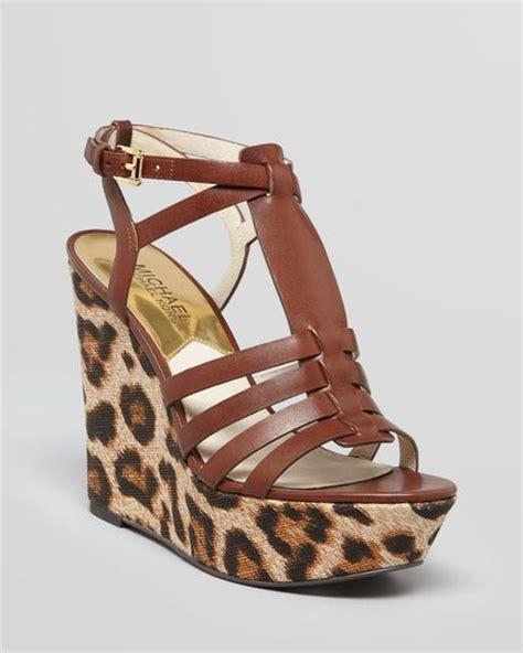 leopard print wedge sandals michael michael kors platform wedge sandals georgie