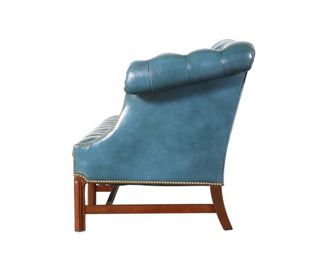 Teal Blue Leather Sofa Vintage Leather Teal Blue Chesterfield Sofa For Sale At 1stdibs