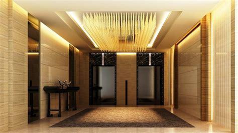 Ceiling interior design, hotel elevator lobby design