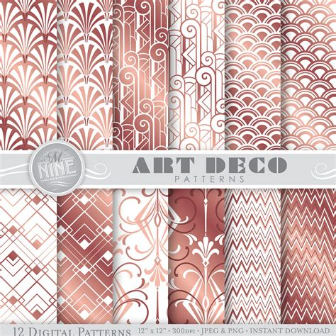 Printable Art Deco Paper | rose gold art deco digital paper rose gold art deco