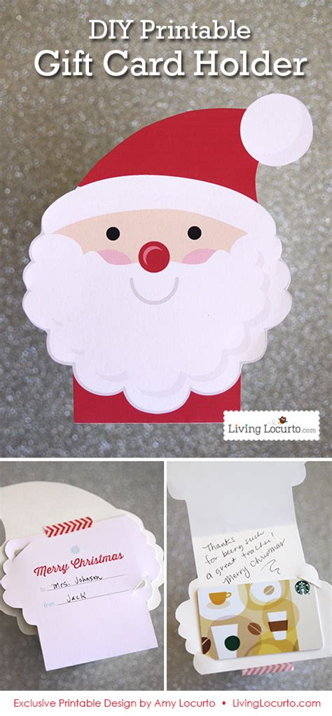 Holiday Gift Card Holders Printable - diy printable santa gift card holder ornament