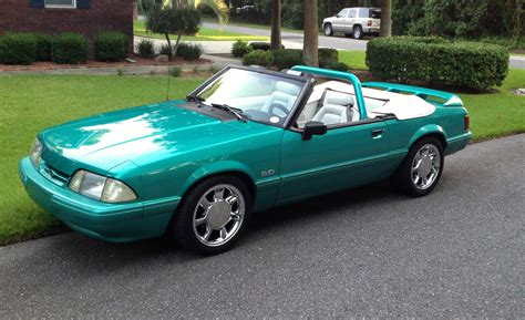 92 ford mustang lx 92 lx 5 0 5spd foxbody convertible calypso green mustang