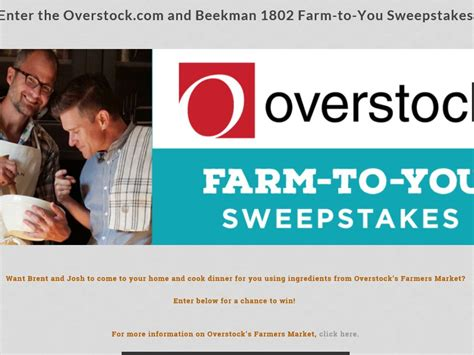 Overstock Sweepstakes - the overstock com farm to you sweepstakes
