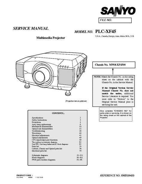 Sanyo Plc Xf45 Sm Service Manual Download Schematics