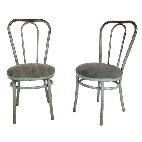 Pair Of Bent Metal Thonet Inspired Dining Chairs At 1stdibs Pair Of Dining Chairs