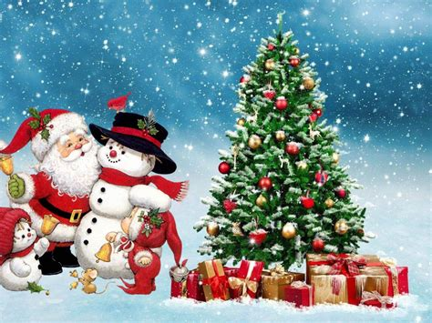 merry christmas santa snowman winter christmas tree ornaments gifts festive background hd
