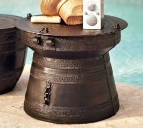 frog rain drum accent table metal drum accent table foter