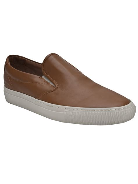 lyst common projects leather slip on in brown for