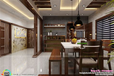 dining kitchen and foyer interiors kerala home design