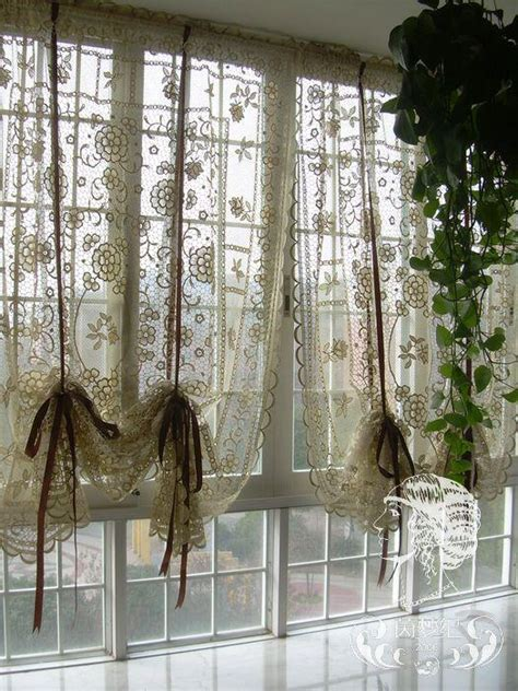 Lace Cafe Curtains Kitchen Country Crochet Lace Balloon Shade Sheer Cafe Kitchen Curtain 012 Lace Balloons