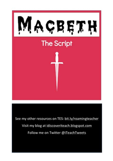 macbeth themes pdf macbeth the script by uk teaching resources tes