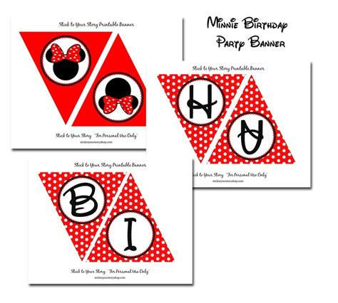 printable minnie mouse birthday banner free printable flag banner girl minnie mouse red birthday