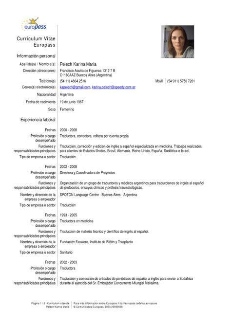 Formato Curriculum Vitae Europeo Espa Ol curriculum vitae template en espanol 84 images