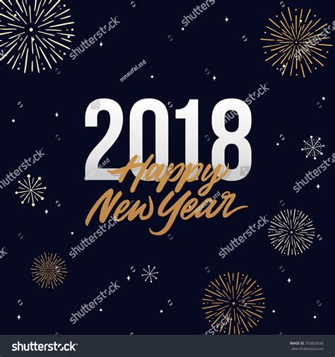 happy new year template card happy new year 2018 card template stock vector 753832036