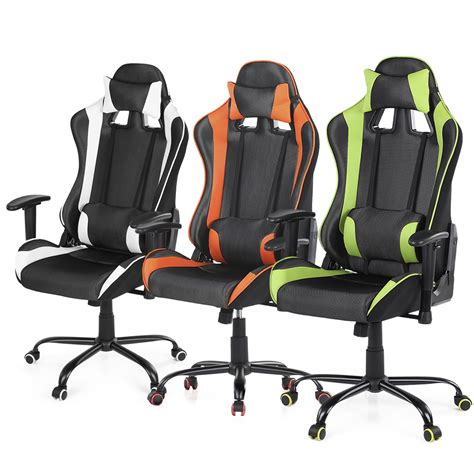 racing gaming desk chair orange ikayaa ergonomic racing gaming office computer desk