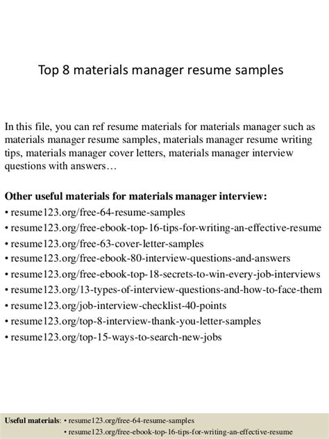 top 8 materials manager resume sles