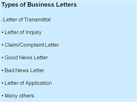 Business Correspondence Letter Types types of business letters authorstream