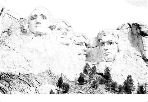 coloring for on mount rushmore great social studies