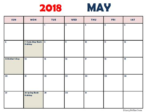 Printable May 2018 Calendar Editable Edit Calendar Template 2018