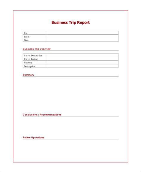 travel report template 6 trip report exles sles