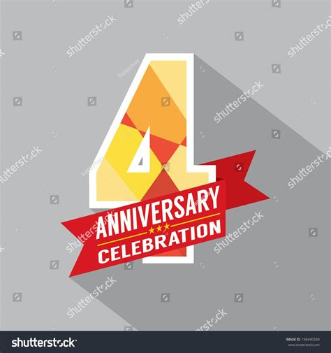 fourth wedding anniversary symbol 4th years anniversary celebration design stock vector