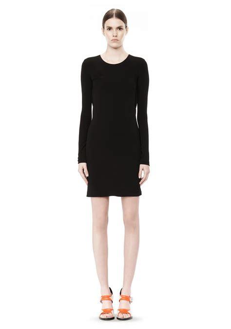 long sleeve drape dress matte jersey long sleeve dress with drape detail short