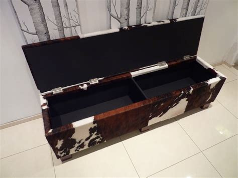 cowhide storage bench cowhide storage bench contemporary dining room london by hide and stitch