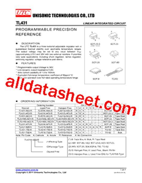 transistor tl431 datasheet tl431 datasheet pdf unisonic technologies