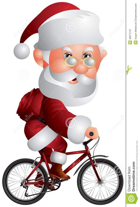 santa claus on the bmx bicycle stock vector image 46671747