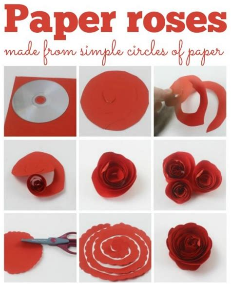 Make Easy Paper Roses - 12 step by step diy papers made flower craft ideas for