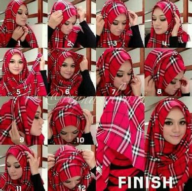 tutorial jilbab monokrom cara memakai jilbab segi empat modern