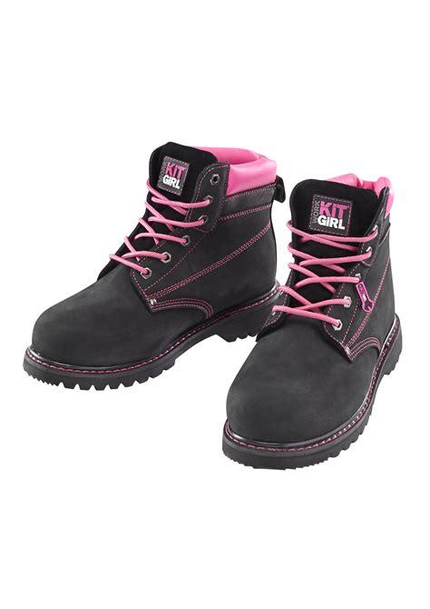 s safety work boots black pink work kit