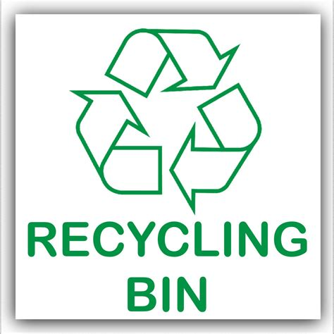 printable recycle label 1 x recycling bin self adhesive sticker recycle logo sign