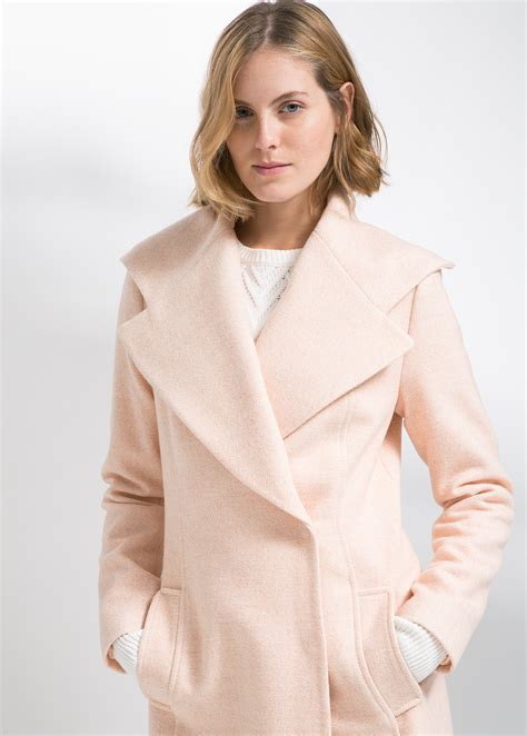 Wide Lapel Wool Blend Coat mango wide lapel wool blend coat in pink lyst