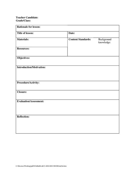 guidance lesson plan template the 25 best blank lesson plan template ideas on