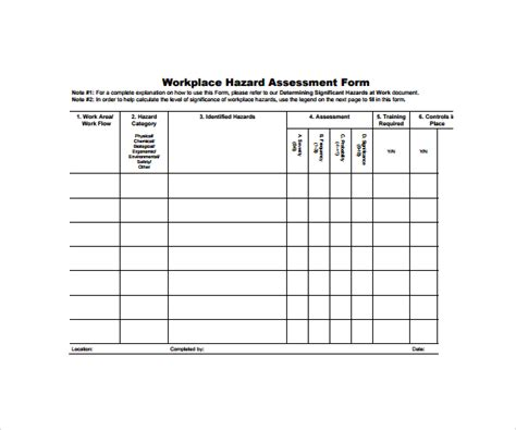 Hazard Assessment Template by 9 Hazard Assessment Templates Sle Templates