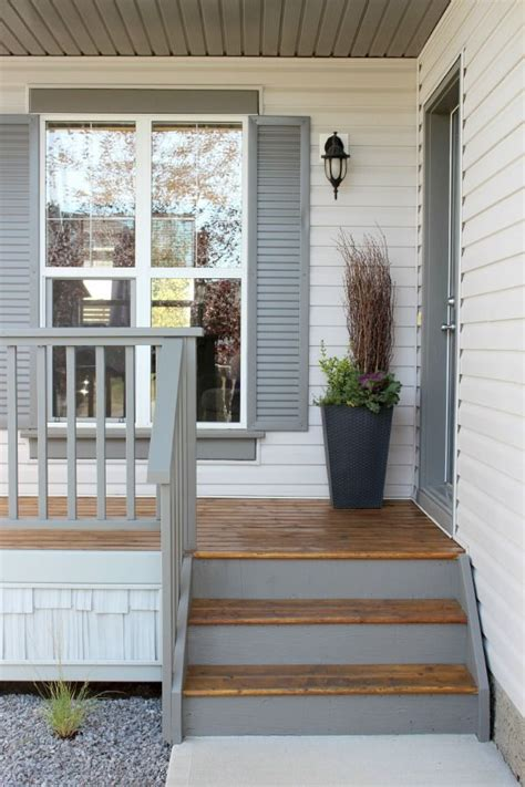 front porch reveal new door color stains grey and front porch makeover