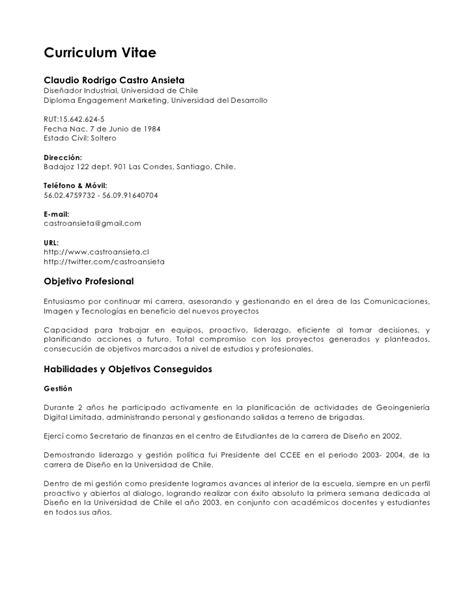 Modelo Curriculum Vitae Universidad De Chile Curriculum Vitae