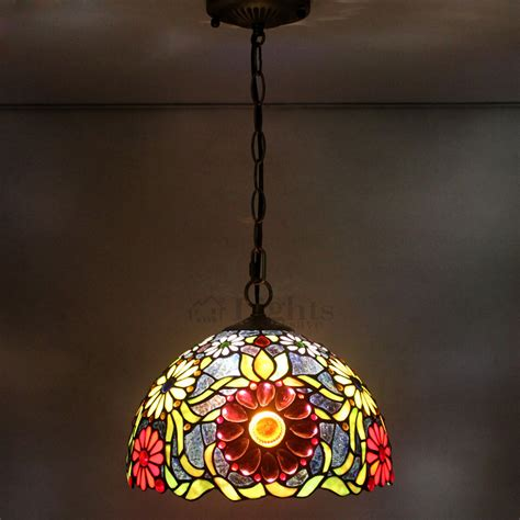 tiffany hanging l shade one light tiffany pendant lights sunflower stained glass shade