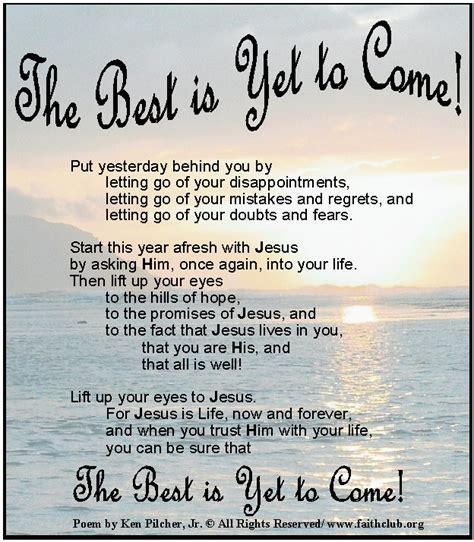 The Best is Yet to Come!   Faith and Inspiration on the