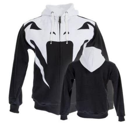 Jaket Hoodie Ziper Venum 1 venum attack mma zip up hoodie black white sizes s m