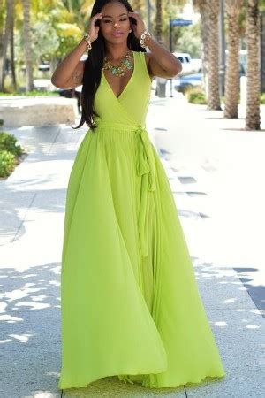 light green sleeveless  neck sexy maxi chiffon dress